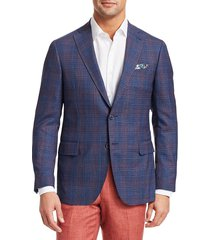 saks fifth avenue men's collection check wool blazer - blue rust - size 42 r