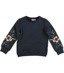 name it blauwe sweater met pailletten en borduringen