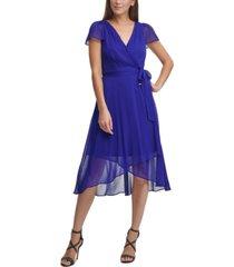dkny ruffled flutter-sleeve faux-wrap dress