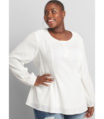 lane bryant women's clip-dot fit & flare blouse 22 ivory