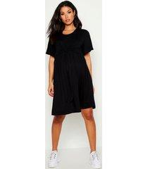 positiekleding gesmokte jurk met overslag voor borstvoeding, zwart