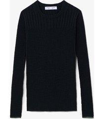proenza schouler white label fine gauge rib knit top black/forest s