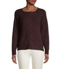 max studio women's cable-knit roundneck sweater - burgundy - size m