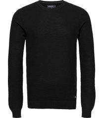 pullover stickad tröja m. rund krage svart blend