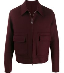 ami patch pockets zipped jacket - red