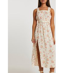 river island womens yellow belted floral midi beach dress