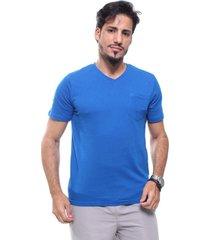 camiseta masculina gola v com bolso crocker azul mediterraneo - azul/azul marinho - masculino - algodã£o - dafiti