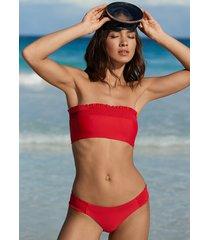 pilyq smocked bandeau bikini red