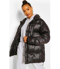oversized gewatteerde cire jas met hoge hals, black