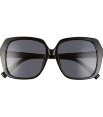 le specs frofro alt fit 56mm tinted square sunglasses - black/ smoke