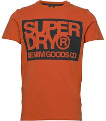 denim goods co print tee t-shirts short-sleeved orange superdry
