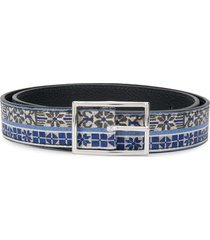 etro woven style patterned belt - blue