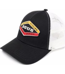 deus ex machina mesh-panelled embroidered cap - black