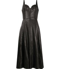alexander mcqueen bustier top flared midi dress - black