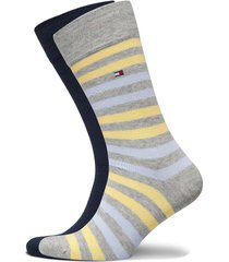 th men duo stripe sock 2p underwear socks regular socks grå tommy hilfiger