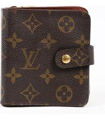 louis vuitton vintage compact zip wallet brown monogram coated canvas brown/monogram sz: