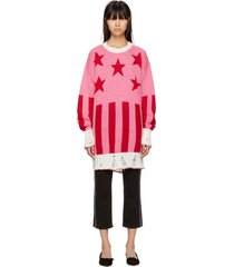 women's pink long stars & stripes destroyed sweater in blend mohair