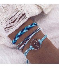 braccialetto in corda d'oro intrecciata con cordino di canapa e bracciale a 3 fili