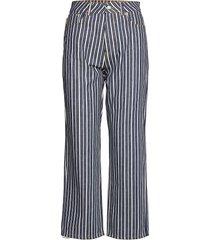 mixed stripe denim boyfriend jeans blå ganni
