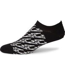 happy socks men's flash-print no-show socks - black white - size 10-13