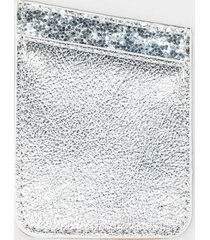 silver glitter cell phone wallet pocket - silver