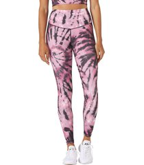 glyder women's sultry yoga leggings - berry tie dye x-large cotton moisture wicking
