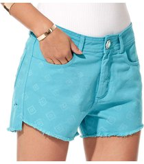 shorts feminino sideral azul turquesa