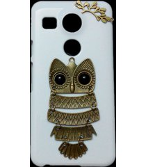 3d cute retro metal bronze owl branch hard back skin case cover for lg nexus 5x