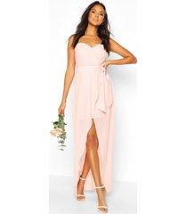 bridesmaid occasion bandeau pleated maxi dress, nude