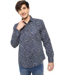 camisa azul gio renzi slim fit
