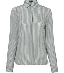 camisa dudalina manga longa seda estampa listrada feminina (estampado listras, 44)