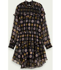 scotch & soda drapey printed long sleeve ruffle dress