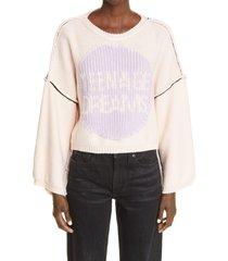 women's raf simons teenage dreams oversize crop sweater, size medium - pink