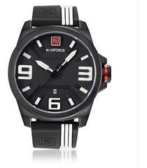 reloj hombre deportivo analogico naviforce 9098 negro blanco