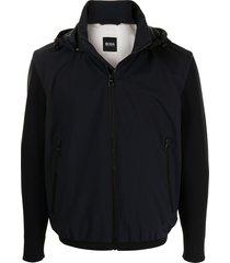 boss hooded ribbed-sleeve jacket - blue