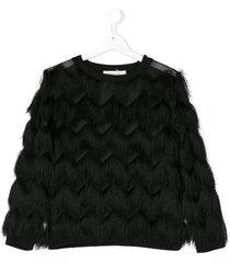andorine fringe design sweatshirt - black
