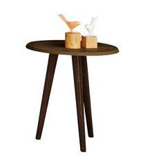 mesa lateral brilhante madeira rústica móveis bechara marrom