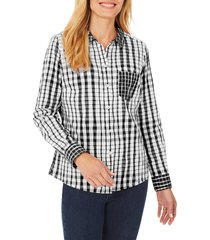 women's foxcroft hampton crinkle plaid shirt, size 8 - black