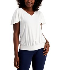 jm collection petite flutter-sleeve top, created for macy's