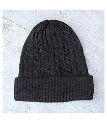 100% alpaca hat,'black braid cascade' (peru)