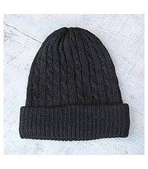 100% alpaca hat,'black braid cascade' (peru)