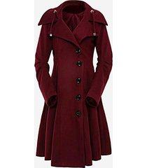 cappotto di lana lungo irregolare con cappuccio plus size