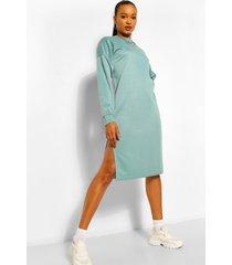 midi sweatshirt jurk met split, blauwgroen