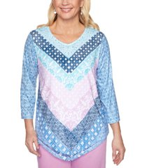 alfred dunner petal pushers geo-print 3/4-sleeve knit top