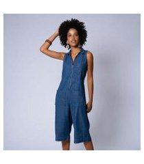 macacão pantacourt zíper jeans feminino