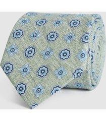 reiss harrison - cotton linen blend tie in sage, mens