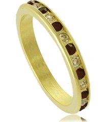 anel fino com cristais branco e vermelho 3rs semijoias dourado