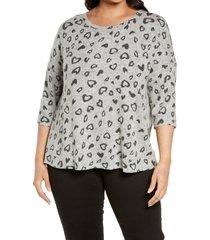 plus size women's bobeau dolman sleeve top, size 1x - grey