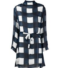 ps paul smith check-print funnel neck dress - blue