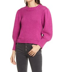 women's pistola gabbie three quarter puff sleeve sweater, size x-small - purple